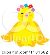 Cartoon Of A Cute Chick Wearing Flowers 2 Royalty Free Vector Clipart by Cherie Reve