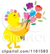 Cartoon Of A Cute Chick With Flowers 2 Royalty Free Vector Clipart by Cherie Reve