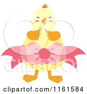 Cartoon Of A Cute Chick Wearing A Yellow Egg With A Bow Royalty Free Vector Clipart by Cherie Reve