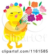 Cartoon Of A Cute Chick With Flowers Royalty Free Vector Clipart by Cherie Reve