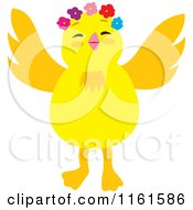 Cartoon Of A Cute Chick Wearing Flowers Royalty Free Vector Clipart by Cherie Reve