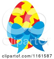 Cartoon Of A Yellow Easter Egg With Red Stars And A Blue Bow Royalty Free Vector Clipart by Cherie Reve