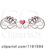 Clipart Of A Decorative Swirl And Heart Design Element Royalty Free Vector Illustration by Cherie Reve