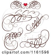 Clipart Of Decorative Swirl Design Elements And One With A Red Heart Royalty Free Vector Illustration