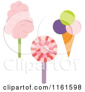 Cartoon Of A Loli Pop Ice Cream Cone And Cotton Candy Royalty Free Vector Clipart by Cherie Reve