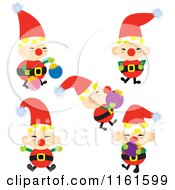 Cartoon Of A Christmas Elf In Five Poses Royalty Free Vector Clipart