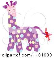 Cartoon Of A Cute Purple Polka Dot Giraffe Royalty Free Vector Clipart