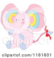 Cartoon Of A Cute Sitting Pink Elephant With Colorful Ears Royalty Free Vector Clipart