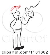 Cartoon Of A Black And White Post Man With Red Hair Holding A Letter Royalty Free Vector Clipart by Cherie Reve