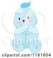 Cartoon Of A Cute Sitting Blue Bear Royalty Free Vector Clipart by Cherie Reve