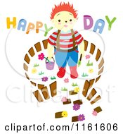Cartoon Of A Boy In A Carden With Happy Day Text Royalty Free Vector Clipart by Cherie Reve
