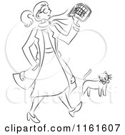 Black And White Traveling Woman Walking By A Cat