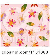 Clipart Of A Seamless Spring Flower Background Pattern On Pink Royalty Free Vector Illustration