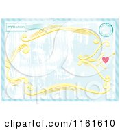 Clipart Of A Grungy Blue Invitation With A Postmark Heart And Frame Royalty Free Vector Illustration by Cherie Reve