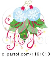 Cartoon Of Snowflake Christmas Baubles With Leaves And Vines Royalty Free Vector Clipart by Cherie Reve