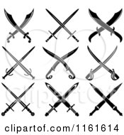 Clipart Of Black And White Crossed Swords 2 Royalty Free Vector Illustration