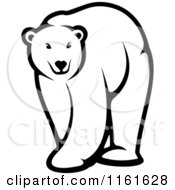 Clipart Of A Black And White Walking Polar Bear Royalty Free Vector Illustration by Seamartini Graphics