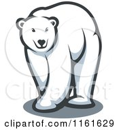 Clipart Of A Walking Polar Bear Royalty Free Vector Illustration by Vector Tradition SM