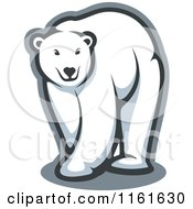 Clipart Of A Walking Polar Bear Outlined In Gray Royalty Free Vector Illustration by Vector Tradition SM