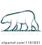 Clipart Of A Walking Polar Bear In Profile Royalty Free Vector Illustration by Vector Tradition SM