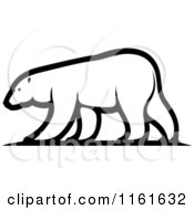 Clipart Of A Black And White Walking Polar Bear In Profile Royalty Free Vector Illustration by Vector Tradition SM