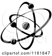 Clipart Of A Black And White Atom 15 Royalty Free Vector Illustration