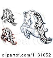 Clipart Of Rearing Horses Royalty Free Vector Illustration