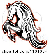 Clipart Of A Black And White Rearing Horse Outlined In Red Royalty Free Vector Illustration