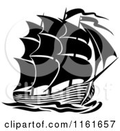 Clipart Of A Black And White Galleon Ship Royalty Free Vector Illustration by Vector Tradition SM