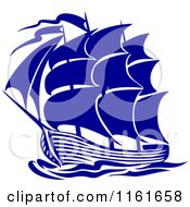 Clipart Of A Blue Galleon Ship Royalty Free Vector Illustration