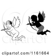 Clipart Of Black And White And Silhouetted Cupids Aiming Arrows Royalty Free Vector Illustration by Vector Tradition SM
