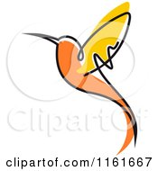 Clipart Of A Simple Orange Hummingbird 2 Royalty Free Vector Illustration by Vector Tradition SM