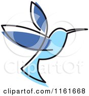 Clipart Of A Simple Blue Hummingbird Royalty Free Vector Illustration