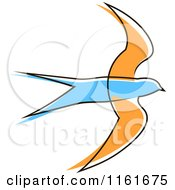 Clipart Of A Simple Blue And Orange Swallow Royalty Free Vector Illustration by Vector Tradition SM