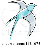 Clipart Of A Simple Blue Swallow Royalty Free Vector Illustration by Vector Tradition SM