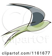 Clipart Of A Simple Green Swallow 2 Royalty Free Vector Illustration by Vector Tradition SM