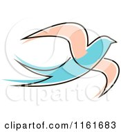 Clipart Of A Simple Pink And Blue Swallow Royalty Free Vector Illustration by Vector Tradition SM