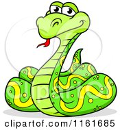 Cartoon Of A Happy Coiled Green Python Snake Royalty Free Vector Clipart by Vector Tradition SM