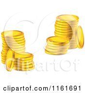 Clipart Of Stacks Of Sparkly Golden Coins Royalty Free Vector Illustration by Vector Tradition SM