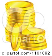 Clipart Of A Stack Of Sparkly Golden Coins Royalty Free Vector Illustration