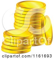 Clipart Of A Stack Of Sparkly Golden Coins 2 Royalty Free Vector Illustration
