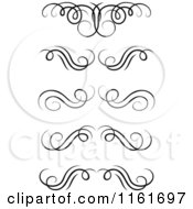 Clipart Of Black And White Swirl Monogram Design Elements Royalty Free Vector Illustration