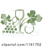 Clipart Of An Olive Green Wine Glass And Grape Vine Royalty Free Vector Illustration by Vector Tradition SM