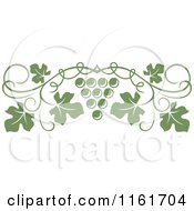 Clipart Of An Olive Green Grape Vine And Fruit Page Border Royalty Free Vector Illustration