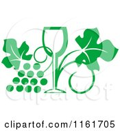 Clipart Of A Green Wine Glass And Grape Vine Royalty Free Vector Illustration