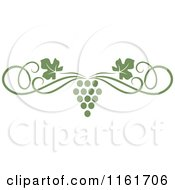 Clipart Of An Olive Green Grape Vine And Swirl Page Border Royalty Free Vector Illustration