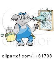 Cartoon Of An Elephant Window Washer Spraying Glass Royalty Free Vector Clipart