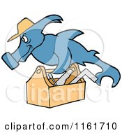Cartoon Of A Handy Hammerhead Shark Repair Man With A Tool Box Royalty Free Vector Clipart by LaffToon