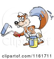 Cartoon Of A Happy Painter Squirrel With Paint On His Tail Royalty Free Vector Clipart