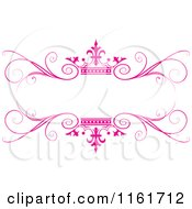 Clipart Of An Ornate Pink Swirl And Crown Wedding Frame Royalty Free Vector Illustration